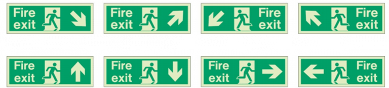 Fire exit signs escape route 768x175 1 RFC Fire And Security Systems Development Site